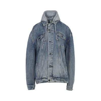 hood layered denim jacket